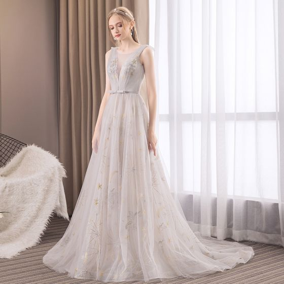 Modern / Fashion Grey Evening Dresses  2019 A-Line / Princess Scoop Neck Sleeveless Star Embroidered Bow Sash Court Train Ruffle Backless Formal Dresses