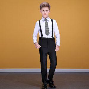 Abordable Blanche Chemise Noire Bretelles Pantalon Costumes De Mariage pour garçons 2020