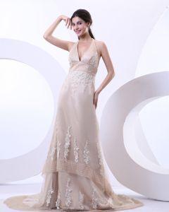 Sexy Halter V-ansatz Satin-gerichts-zug A Linie Brautkleider Hochzeitskleid