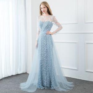 Fabulous Sky Blue Evening Dresses  2020 Trumpet / Mermaid Scoop Neck Pearl Rhinestone Lace Flower Appliques Long Sleeve Floor-Length / Long Formal Dresses