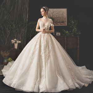 Vintage / Retro Champagne Wedding Dresses 2019 A-Line / Princess See-through Deep V-Neck Short Sleeve Heart-shaped Backless Appliques Lace Beading Glitter Tulle Cathedral Train Ruffle