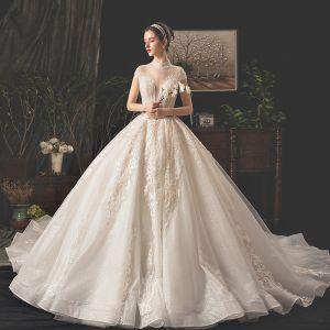 5ebf6495e1be7 Vintage / Retro Champagne Wedding Dresses 2019 A-Line / Princess  See-through Deep
