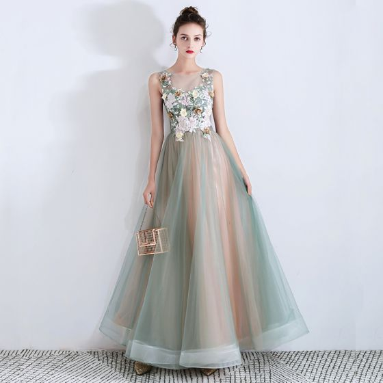 Flower Fairy Sage Green See-through Evening Dresses  2019 A-Line / Princess Scoop Neck Sleeveless Appliques Lace Flower Rhinestone Floor-Length / Long Ruffle Backless Formal Dresses
