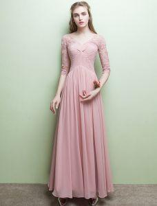 Glamourösen Abendkleider V-ausschnitt Rüsche Rosa Chiffon Kleid Mit Ärmeln