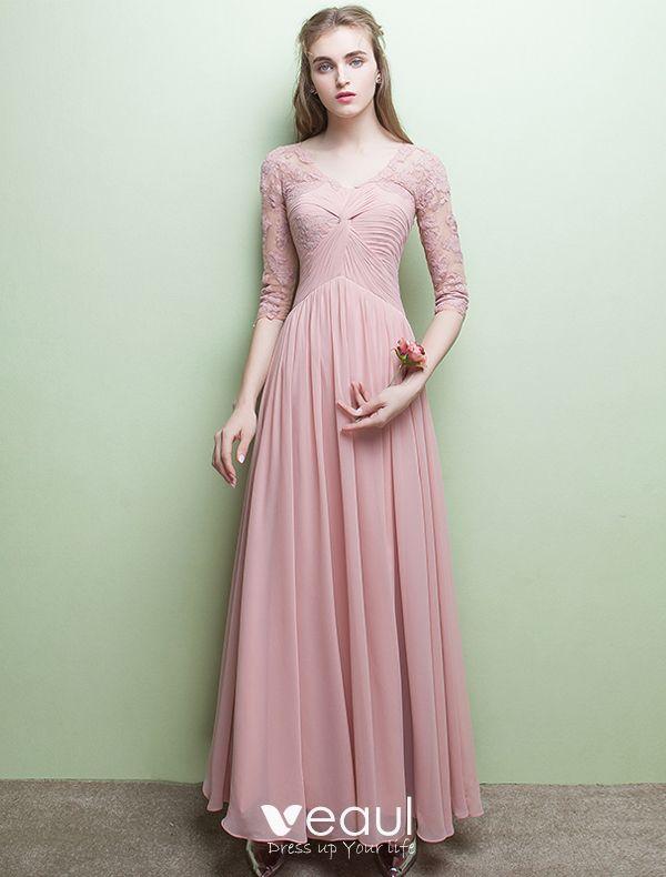 Glamourosen Abendkleider V Ausschnitt Rusche Rosa Chiffon Kleid Mit Armeln