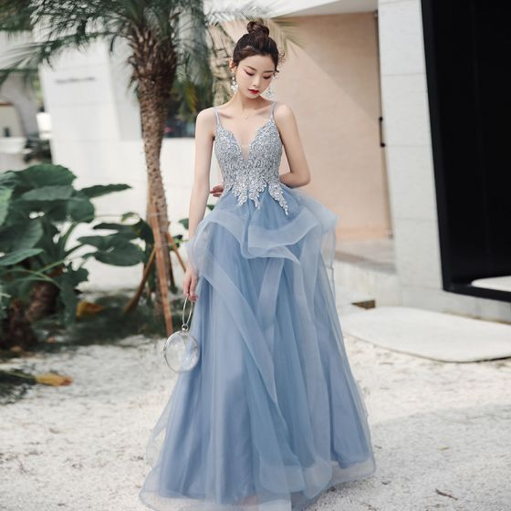 Sexy Sky Blue Evening Dresses  2020 A-Line / Princess Deep V-Neck Spaghetti Straps Sleeveless Appliques Lace Beading Floor-Length / Long Ruffle Backless Formal Dresses