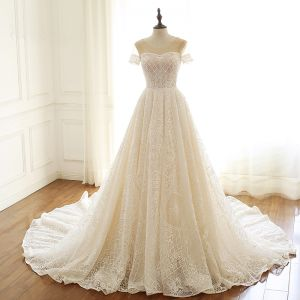 Luxury / Gorgeous Champagne Wedding Dresses 2019 A-Line / Princess Scoop Neck Beading Sequins Lace Flower Short Sleeve Backless Chapel Train