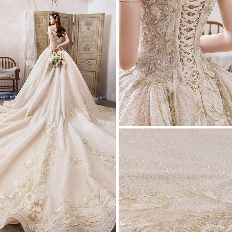 Luxury / Gorgeous Champagne Wedding Dresses 2019 Ball Gown Off-The-Shoulder Short Sleeve Backless Appliques Lace Beading Pearl Glitter Tulle Royal Train Ruffle