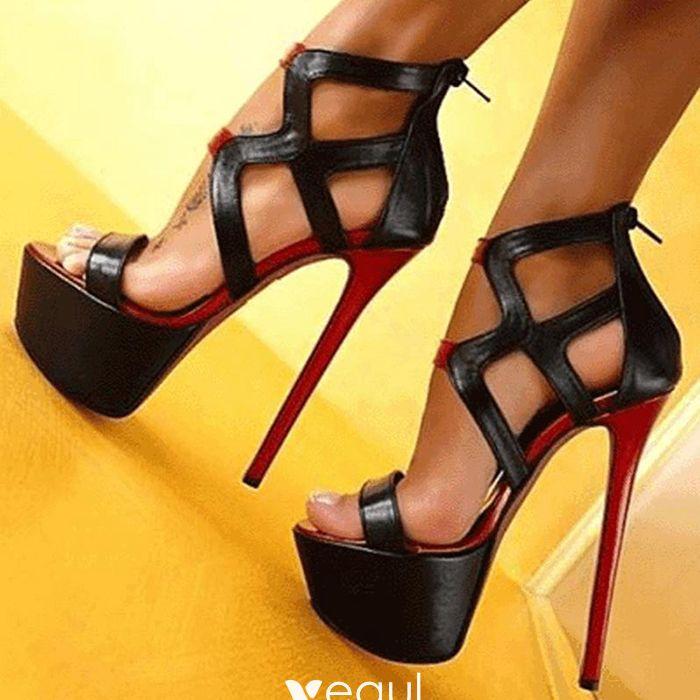Chic / Beautiful Black Prom Pumps 2017 Polyester X-Strap Platform Open / Peep Toe High Heel