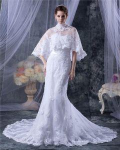 Tüll Trägerlosen Sicke Applique Chaoel Mantel Brautkleider Hochzeitskleid