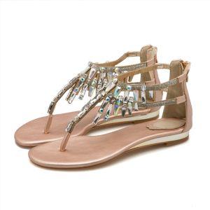 Bohemia Gold Womens Sandals 2018 Beading Rhinestone Crystal Flat Sandals