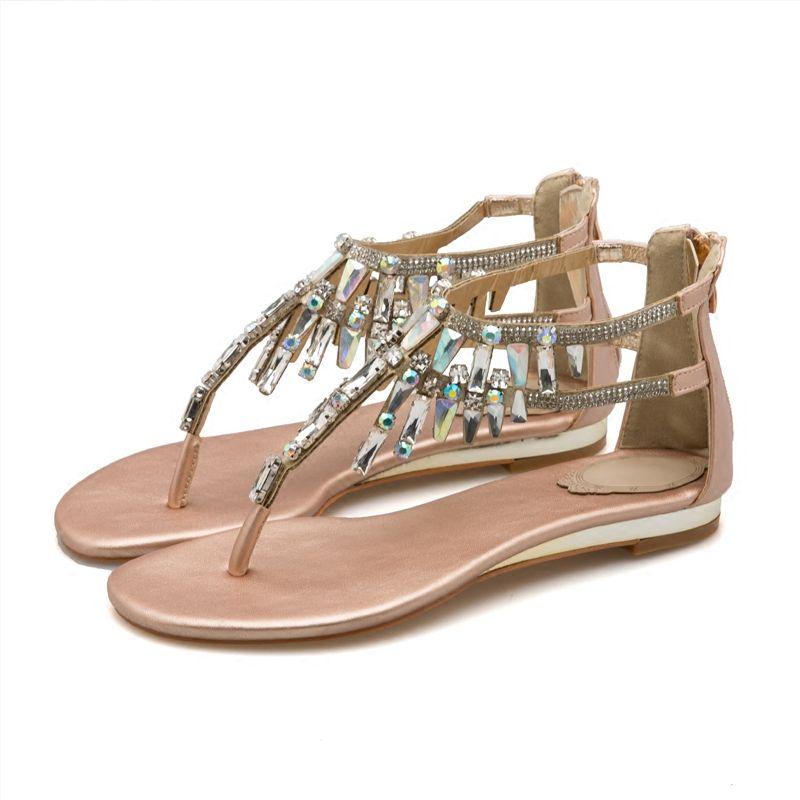 40d4c82102 Bohemia Gold Womens Sandals 2018 Beading Rhinestone Crystal Flat Sandals