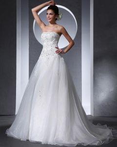 Vackra Applikationer Beading Axelbandslos Golv Langd Domstol Tag Organza En Linje Bröllopsklänningar Brudklänningar
