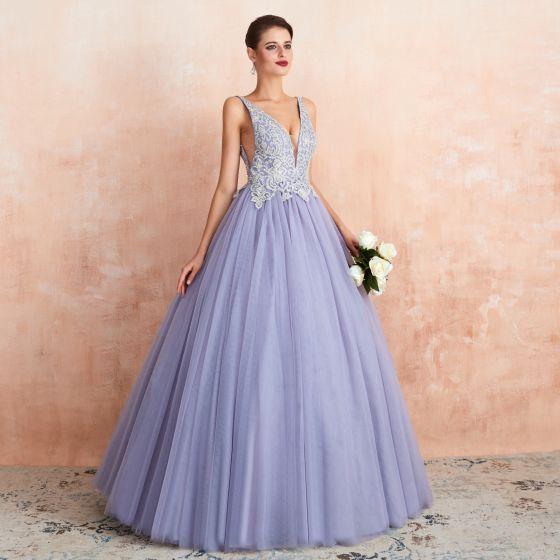 High-end Lavender Evening Dresses  2020 A-Line / Princess Deep V-Neck Sleeveless Appliques Lace Beading Floor-Length / Long Ruffle Backless Formal Dresses
