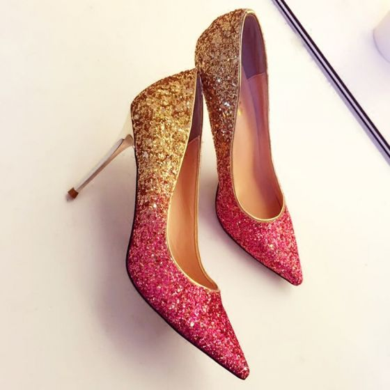 Sparkly Gradient-Color Gold Burgundy Womens Shoes 2018 Sequins Leather 9 cm Stiletto Heels Pointed Toe Prom Pumps