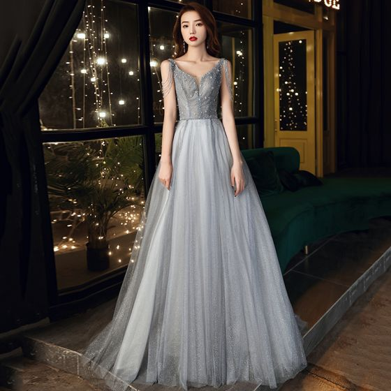 Charming Grey Prom Dresses 2021 A-Line / Princess V-Neck Beading Sequins Tassel Sleeveless Backless Sweep Train Formal Dresses