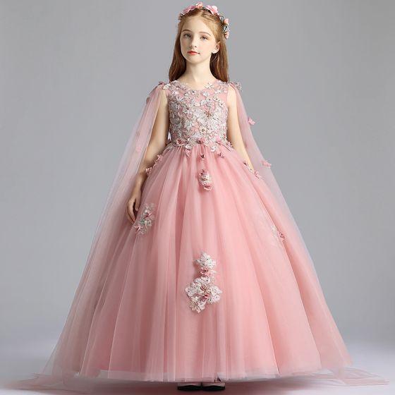 Hermoso Perla Rosada Vestidos para niñas 2019 A-Line / Princess Scoop Escote Sin Mangas Apliques Con Encaje Flor Perla Watteau Train Ruffle Vestidos para bodas