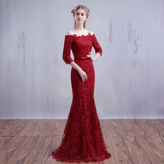 Único Largos Borgoña Vestidos de noche 2018 Trumpet / Mermaid Con cordones Rebordear Lentejuelas Sin Tirantes Noche Vestidos Formales
