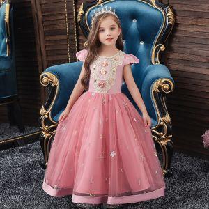 Vintage Cukierki Różowy Urodziny Sukienki Dla Dziewczynek 2020 Suknia Balowa Wycięciem Rękawy z Kapturkiem Aplikacje Z Koronki Długie Wzburzyć