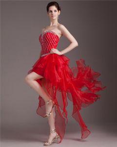Beautiful Beading Sweetheart Asymmetric Satin Organza High Low Cocktail Dress