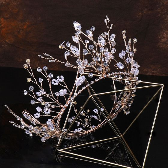 Classy Gold Tiara Bridal Hair Accessories 2020 Metal Beading Crystal Rhinestone Wedding Accessories