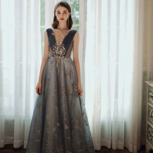 Chic / Beautiful Ocean Blue Prom Dresses 2020 A-Line / Princess Scoop Neck Beading Glitter Sequins Lace Flower Rhinestone Sleeveless Backless Floor-Length / Long Formal Dresses