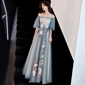 Schöne Grau Abendkleider 2019 A Linie Off Shoulder Spitze Blumen Schleife Kurze Ärmel Rückenfreies Lange Festliche Kleider