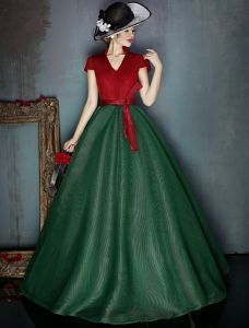 Vintage Burgundy And Dark Green Prom Dress V-neck Tulle Party Dress