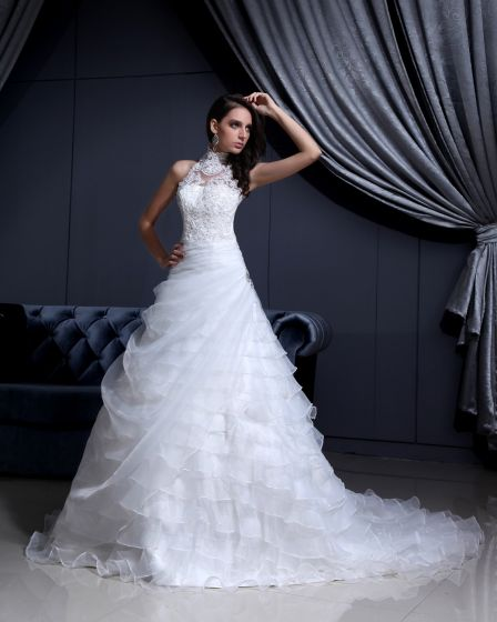 Hoch Hals Spitze Mit Perlen Kapelle A-linie Brautkleider Hochzeitskleid