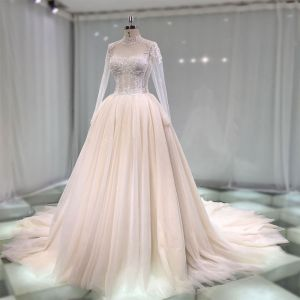 Luxus / Herrlich Champagner Durchsichtige Handgefertigt Brautkleider / Hochzeitskleider 2019 Prinzessin Stehkragen Lange Ärmel Perlenstickerei Glanz Tülle Kathedrale Schleppe Rüschen