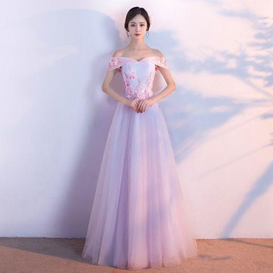 Hermoso Vestidos de gala 2017 Rosa Clara A-Line / Princess Largos Fuera Del Hombro Manga Corta Sin Espalda Lentejuelas Perla Rebordear Con Encaje Apliques Vestidos Formales