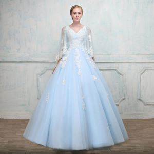 Chic / Beautiful Sky Blue Prom Dresses With Shawl 2018 Ball Gown V-Neck Appliques Lace Beading Floor-Length / Long Ruffle Backless Formal Dresses
