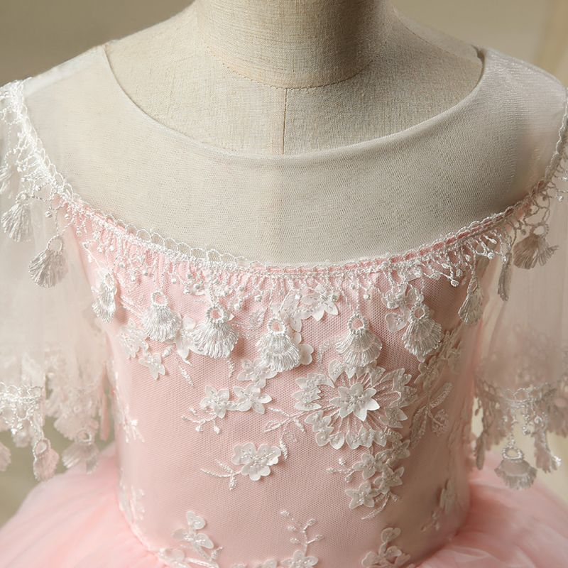 Chic / Beautiful Hall Wedding Party Dresses 2017 Flower Girl Dresses Blushing Pink Short Ball Gown Cascading Ruffles Scoop Neck 1/2 Sleeves Tassel Flower Appliques