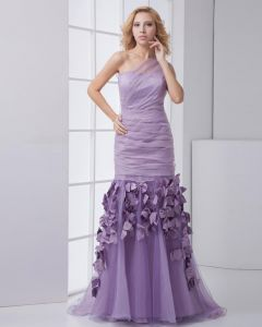 Mode Organza Taft Geplooide Applique Hellende Mouwloze Vloer Lengte Galajurken