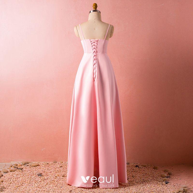 Hermoso Rosa Talla Extra Vestidos De Noche 2018 A Line Princess Con Chal V Cuello Charmeuse Rebordear Crystal Noche Vestidos Formales
