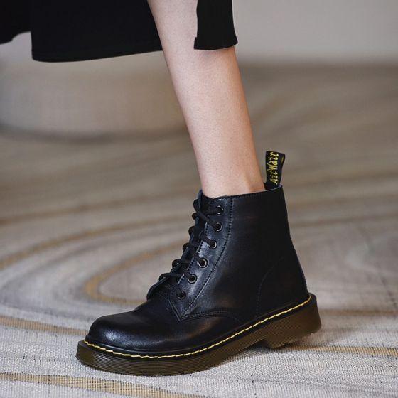 Fashion Fall Black Street Wear Leather Flat Round Toe Womens Boots 2020
