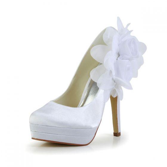 Classic White Bridal Shoes Stilettos High Heel Pumps With Platform