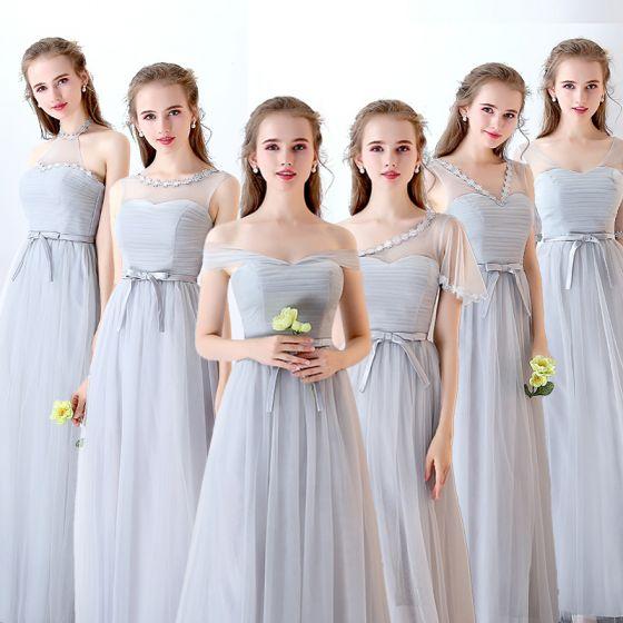 Chic / Beautiful Discount Grey Bridesmaid Dresses 2019 A-Line / Princess Bow Sash Floor-Length / Long Ruffle Backless Wedding Party Dresses