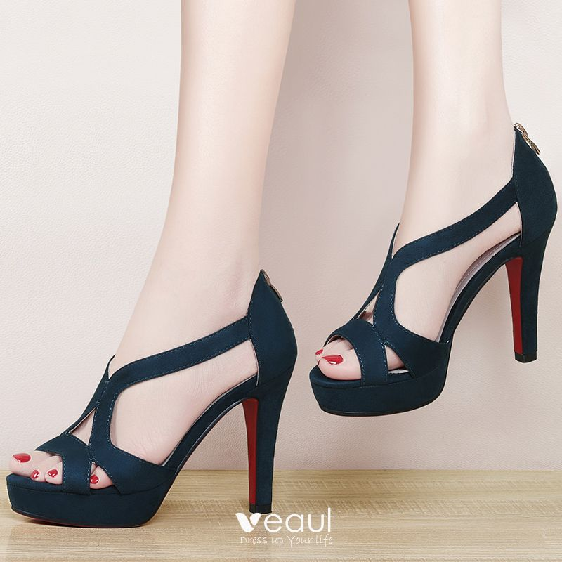 Chic / Beautiful 2017 8 cm / 3 inch Black Royal Blue Casual Cocktail Party Evening Party Outdoor / Garden PU Summer Pierced High Heels Stiletto Heels Open / Peep Toe Pumps