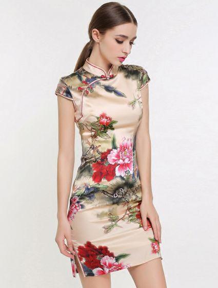 Elegant Cheongsam 2016 High Neck Short Sleeves Printing Flowers Elastic Natural Silk Qipao Evening Dress