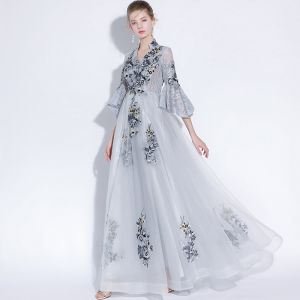 Style Chinois Gris Robe De Soirée 2018 Princesse En Dentelle Appliques V-Cou 3/4 Manches Longue Robe De Ceremonie