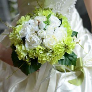 Artificial Silk Simulation Flower Tea Rose Hydrangea Bridal Bouquets Wedding Holding Flowers