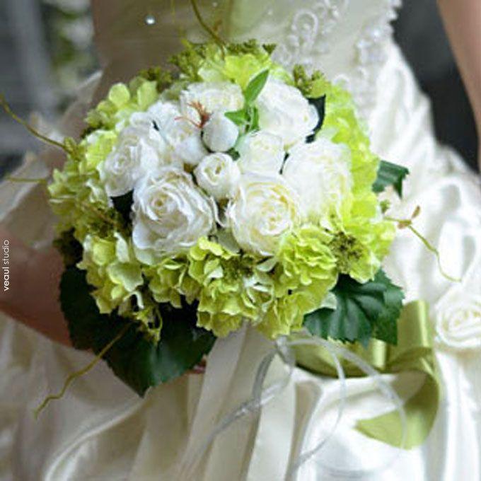 Artificial Silk Simulation Flower Tea Rose Hydrangea Bridal Bouquets Wedding Holding Flowers