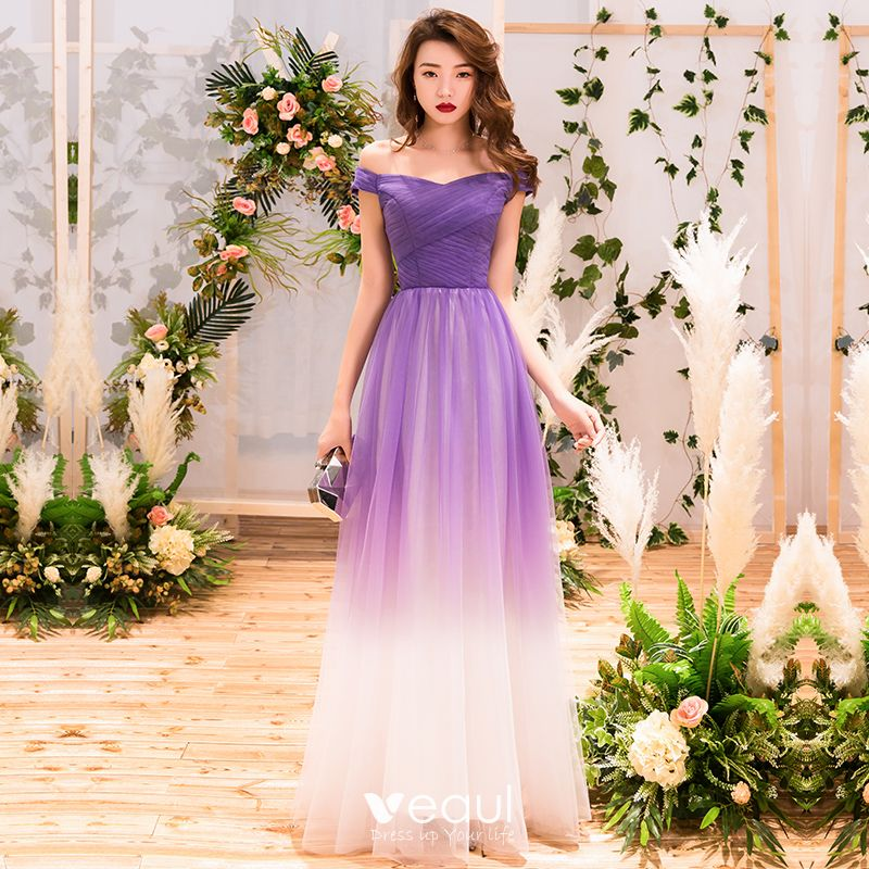 Chic / Beautiful Purple Gradient-Color Evening Dresses  2019 A-Line / Princess Off-The-Shoulder Short Sleeve Backless Floor-Length / Long Formal Dresses