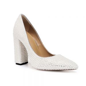 Fashion Ivory Pearl Wedding Shoes 2020 Leather 10 cm Thick Heels Pointed Toe Wedding Pumps