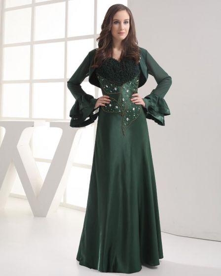Fashion Chiffon Imitation Silk Beads Ruffle Sweetheart Floor Length Celebrity Dress