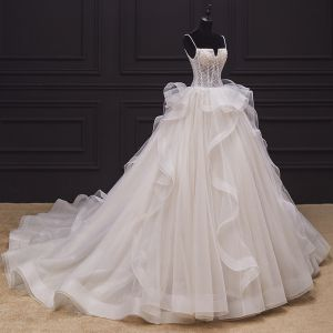 Luxury / Gorgeous Champagne Bridal Wedding Dresses 2020 Ball Gown Spaghetti Straps Short Sleeve Backless Appliques Lace Beading Chapel Train Ruffle