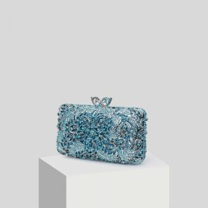 Luxury / Gorgeous Pool Blue Glitter Rhinestone Clutch Bags 2019