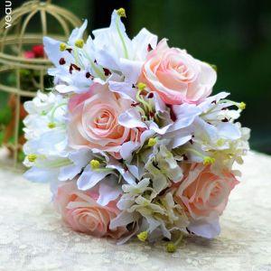 Kunstzijde Simulatie Bloem Bruidsboeket Vasthouden Van Bloemen Lelie Rose Hortensia Trouwboeket Bloemen