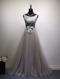 2016 Glamorous Scoop Neck Silver Sequins Champagne Tulle Prom Dress With Bow Sash